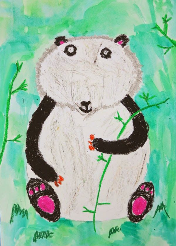 Chloe (age 8) painted this fun panda using oil pastels :)