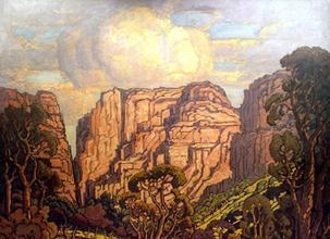 Rustenburg Kloof, by Pierneef. Part of the Oliewenhuis Collection, an art gallery close to where I live. It is a huge painting but absolutely beautiful.