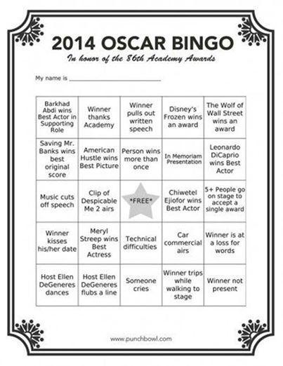 Let's play '2014 Oscars Bingo'. Eye's down. Here we go...