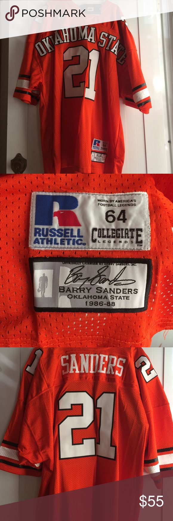 Oklahoma State Barry Sander Jersey size 64 New never used with Tags size 64 Barry Sanders Oklahoma State football Jersey Sewn on number and name. Awesome Jersey Russell Athletic Other