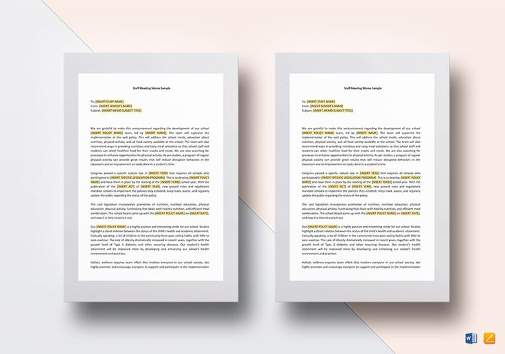 Staff Meeting Memo Template  $15  Formats Included : MS Word, Pages File Size : 8.27x11.69 Inchs, 8.5x11 Inchs #StaffMeetingMemo #Documents #Documentdesigns #Memodesigns #MemoTemplates