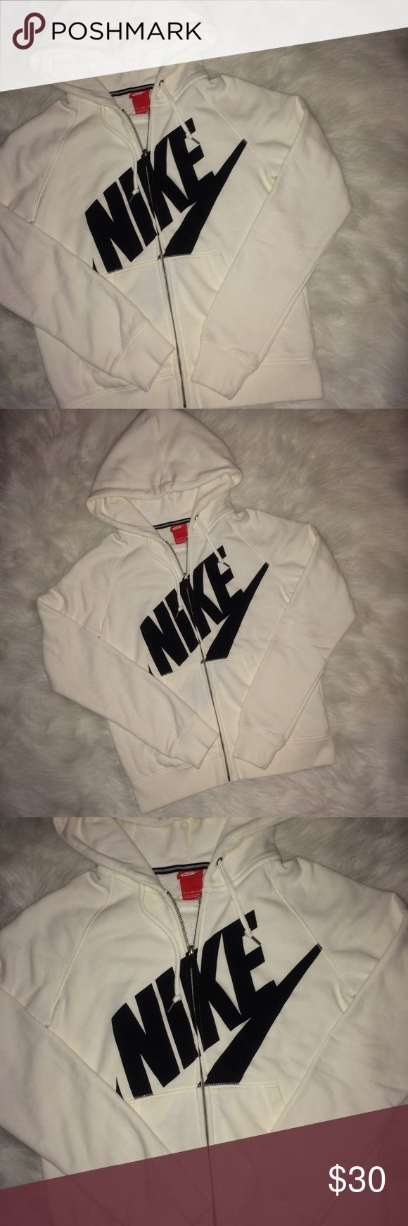 NIKE creamy white Zip-up hoodie NIKE creamy white Zip-up hoodie, NWOT, inside is that cool towel-like fabric Nike Jackets & Coats