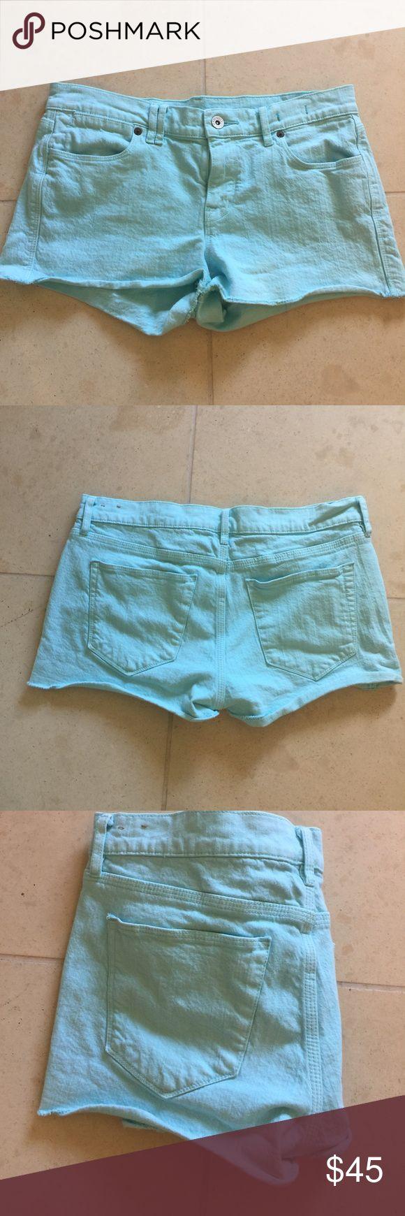 "Madewell Turquoise Shorts Madewell Turquoise Shorts. Size 27. Waist 15 1/2"", Length 10"" Madewell Shorts Jean Shorts"