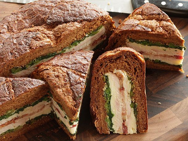 Turkey, Bacon, and Broccoli Rabe Shooter's-Style Sandwiches - sounds awesome for camping/picnics