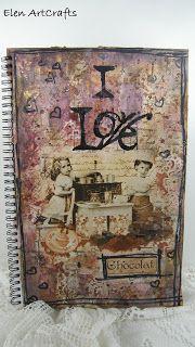 "Elen ArtCrafts: ""I love chocolat""...Mixed media-decoupage art jour..."