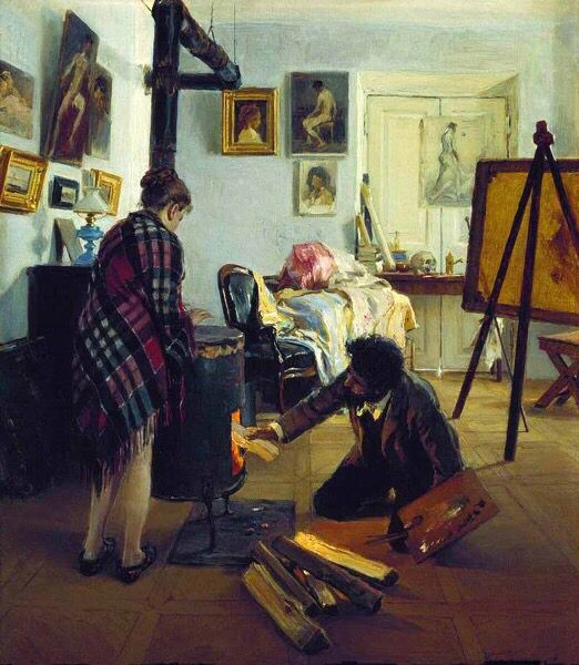 In the Artist's Studio - Illarion Pryanishnikov