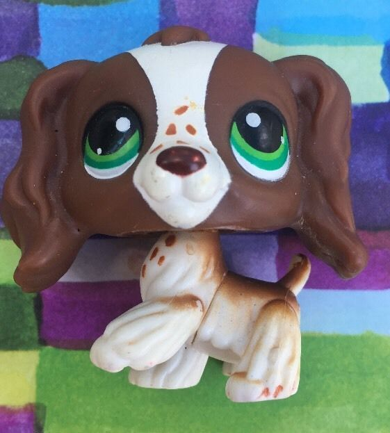 Littlest Pet Shop Brown White Cocker Spaniel Green Eyes 156 LPS | eBay