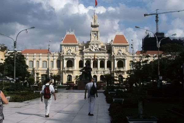French colonial era city hall building in downtown Ho Chi Minh City.