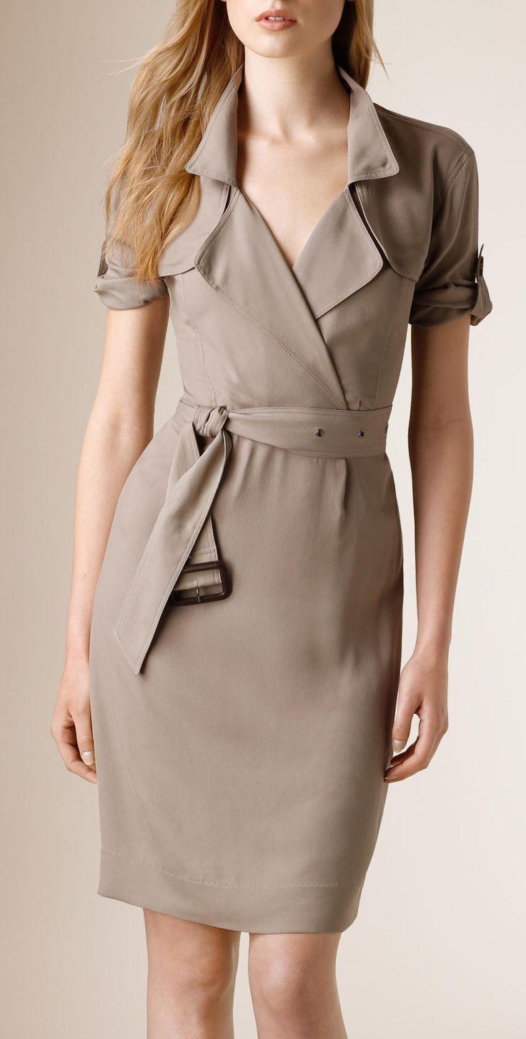 Silk wrap trench dress