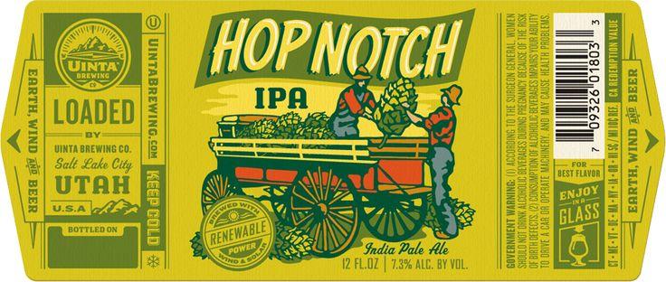 Uinta Brewing Company - Hop Notch label   Bottles + Cans   Pinterest