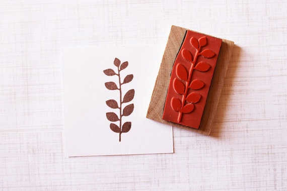 Leaf Frond Handmade Rubber Stamp Wood Mounted by HappyRainyDay, $12.00