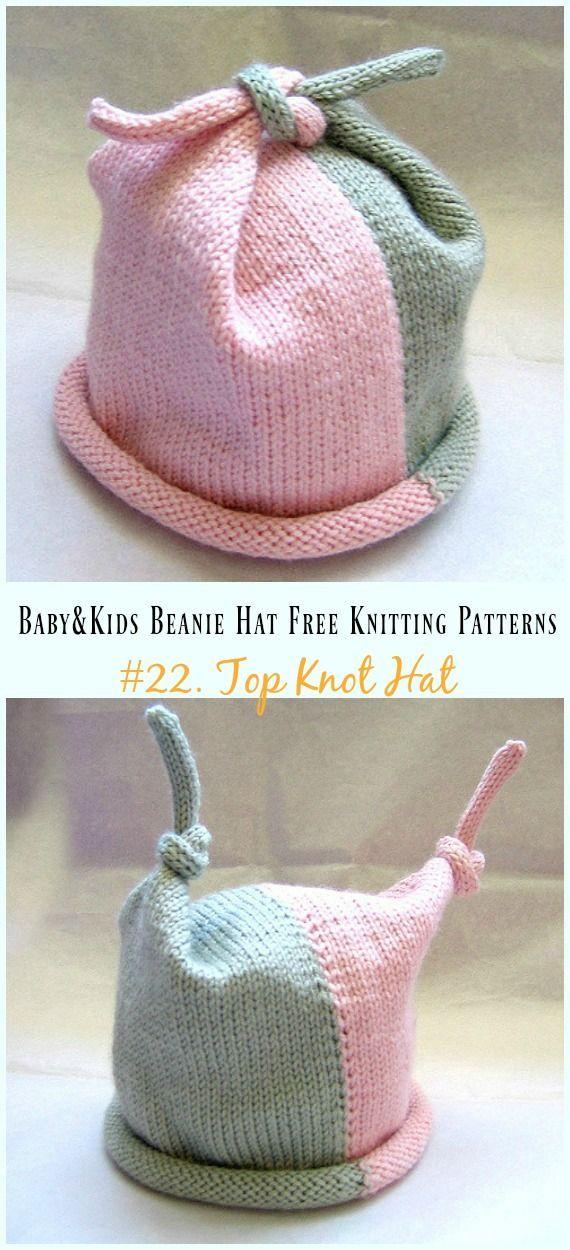 Top Knot Hat Knitting Free Pattern – Baby & Kids Beanie #Hat; Free #Knitting; Pa…