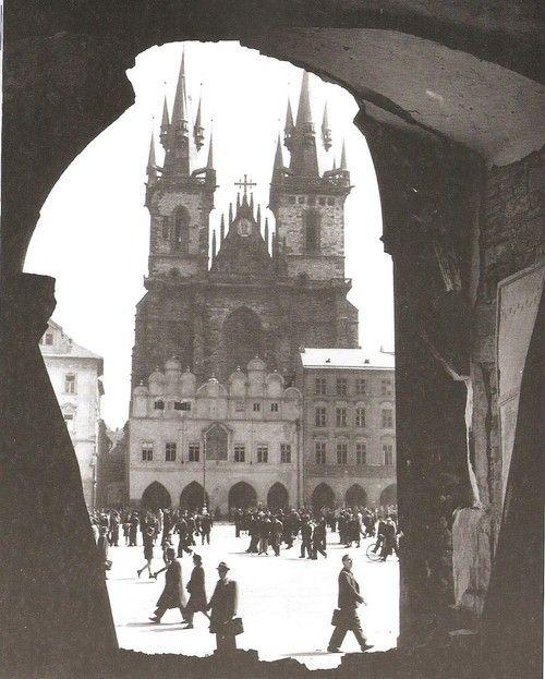 Old Market Square, Prague, 1945, end of the IIWW, by Josef Voříšek