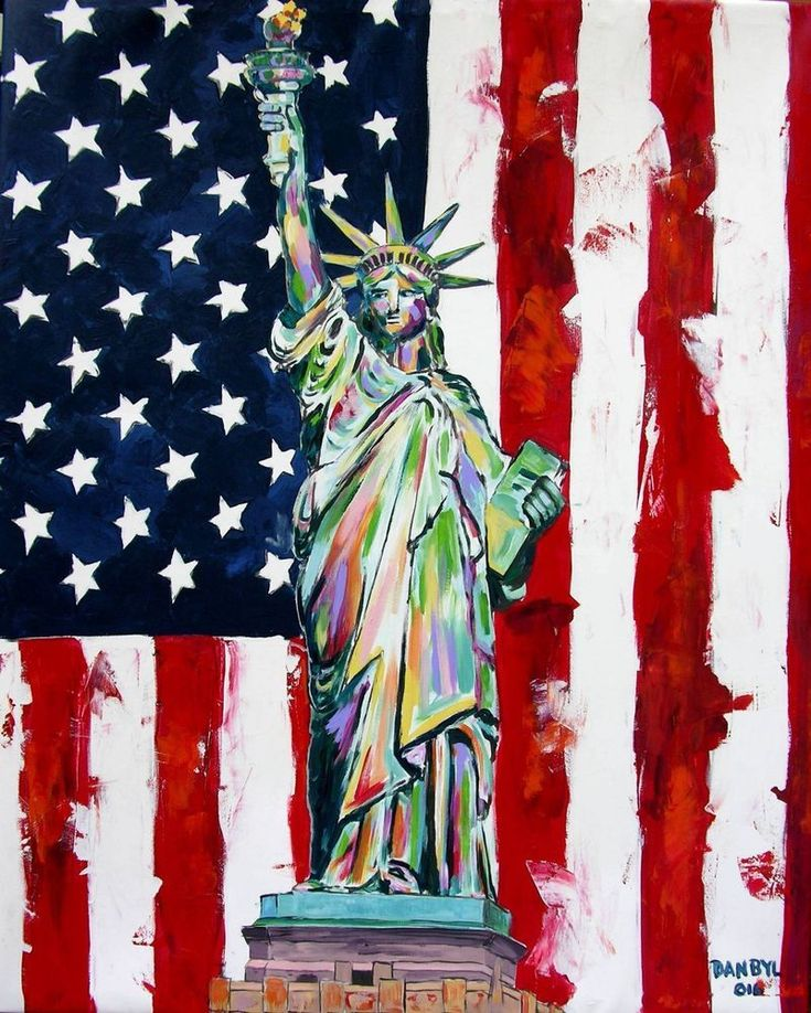 Statue of Liberty Original Modern Pop Art Painting Dan Byl New York Huge 4x5ft #Impressionism