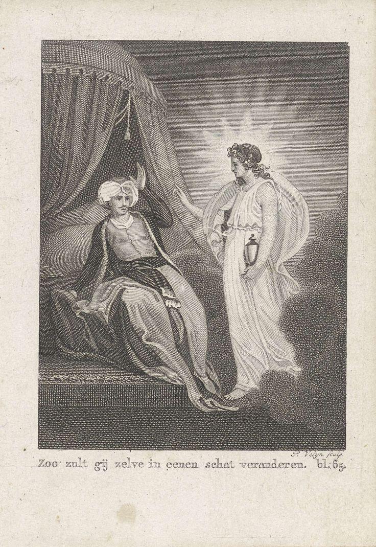 Philippus Velijn | Vrouw met een lantaarn bij een man met een tulband, Philippus Velijn, G.J.A. Beyerinck, 1822 | Een met een stralenkrans omgeven vrouwenfiguur in een licht gewaad en met een lantaarn in haar hand verschijnt aan een man, zittend op de rand van een bed met een tulband op zijn hoofd. Hij heeft zijn hand van schrik opgeheven. Rechtsonder: bl. 65.