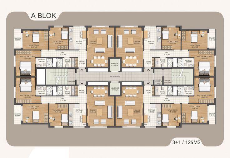 apartman mimari plan - Google'da Ara