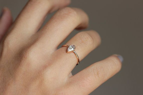 Solitaire Pear Diamond Engagement Ring 0 5 Carat Pear