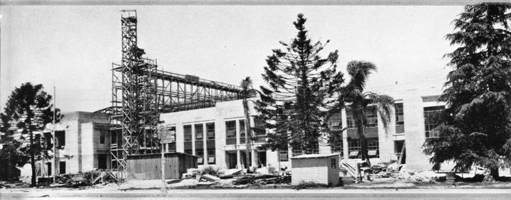1936-A new art deco Anaheim High School main building, library and auditorium are dedicated. Construction is part of a Work Projects Administration (WPA) project #8291.