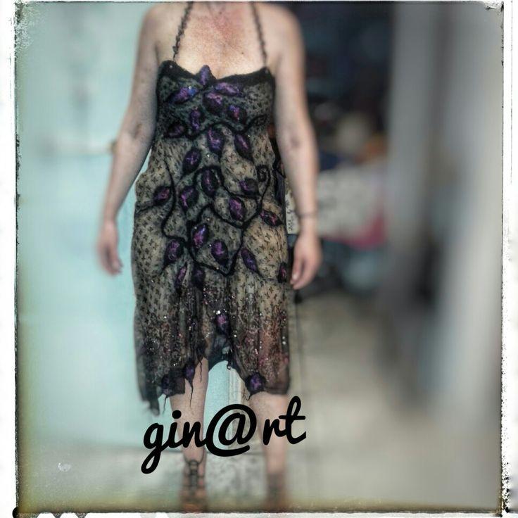 Wearable art..Nuno felted dress❤