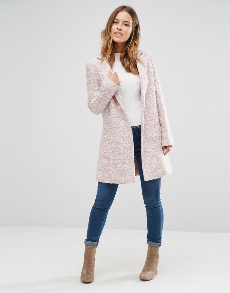 Image 4 of ASOS PETITE Textured Coat in Relaxed Fit