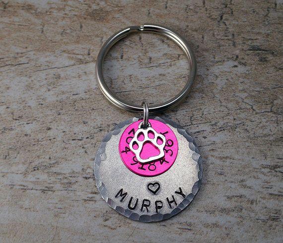 Large Pet Tags - Pink Pet Tags - Large Dog Tags - Large Pet IDs - Pet ID Tags - Dog ID Tags - Dog Tags - Distressed Pet Tags - Pink Dog Tags