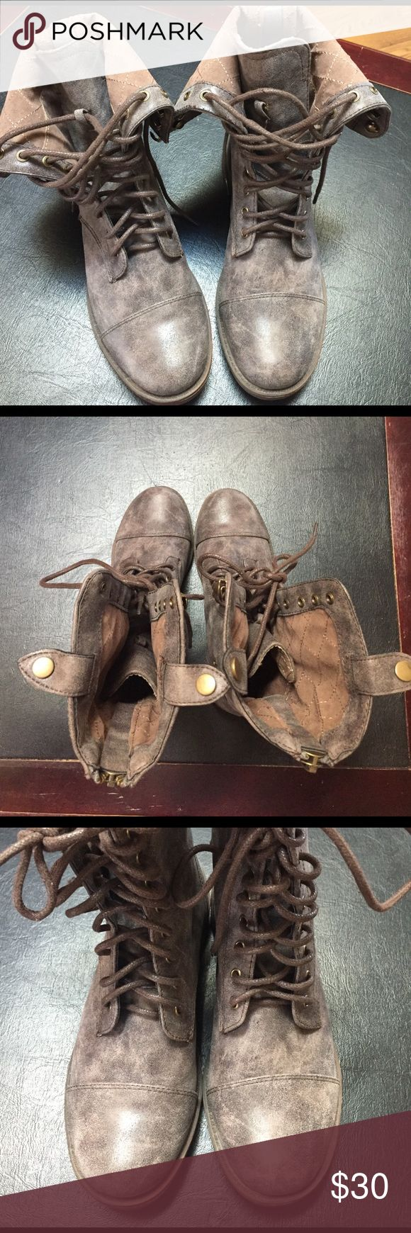 Dollhouse boots sz 7.5 These boots would be great combat boot style or folded over as short boots. They are NWOT. Have the zipper in the back and also tie up front. Color is a gray with some hue to it. Very pretty boots. Dollhouse Shoes Ankle Boots & Booties