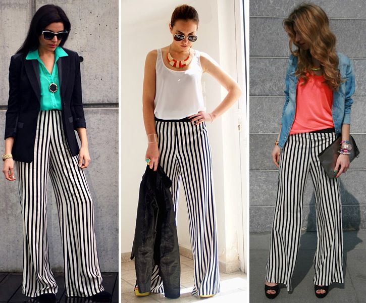 ZARA IS THE NEW BLACK - pantalones palazzo rayas blanco y negro