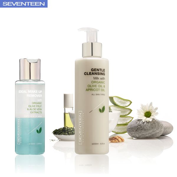 Skin Perfection | Seventeen Cosmetics Remove effectively makeup from eyes and lips with the Biphasic lotion Ideal Makeup Remover. Αpply Gentle Cleansing Milk on entire face, eyes and neck every morning & evening. Remove with cotton pad or tissue. #Seventeen #Cosmetics #skincare