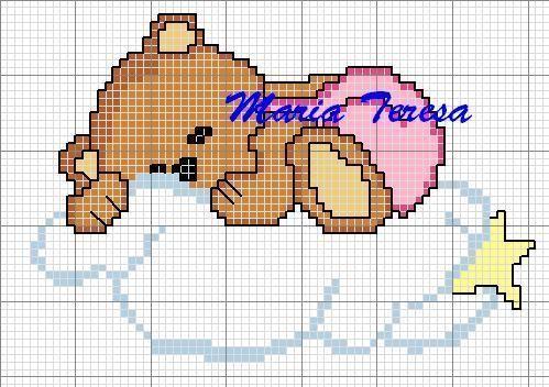 Schema punto croce Orsetto Nuvoletta