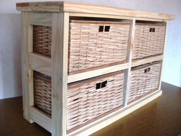 Mueble Organizador,canastero X 4 Canastos de Mimbre  horizontal