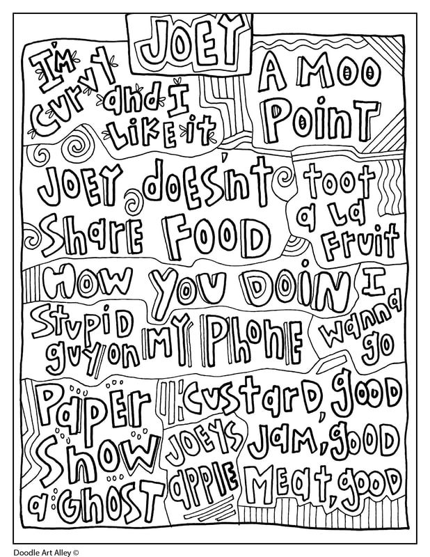 Friends Quotes Joey Quote Coloring Pages Friends Tv Show Gifts Coloring Pages