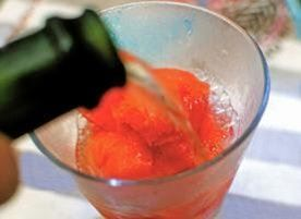 Sorbet + champagne makes for a refreshing summer cocktail.