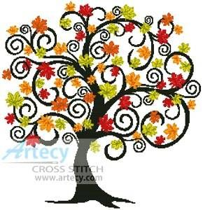 Decorative Autumn Tree cross stitch pattern.