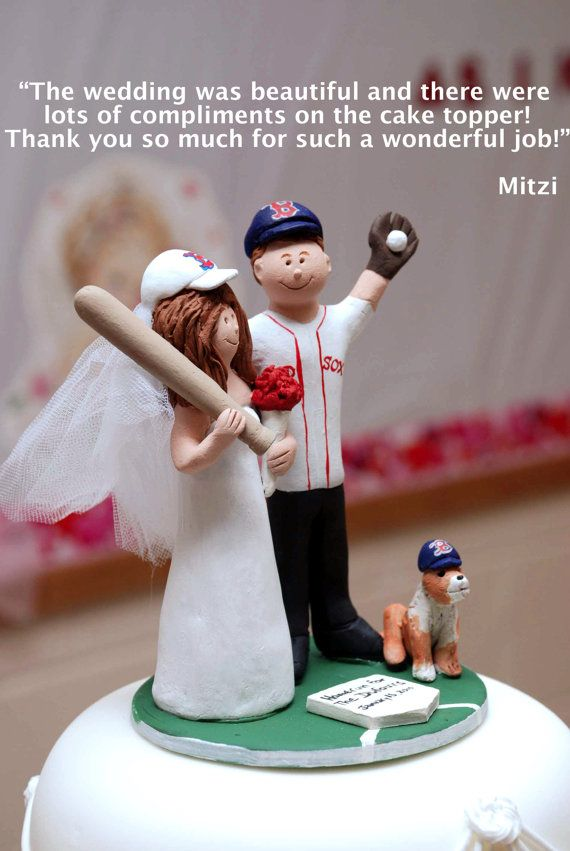 Red Sox Baseball Wedding Anniversary Gift, New York Yankees Wedding CakeTopper, Baseball Wedding Anniversary Gift    Wedding Cake Topper for MLB Baseball Fans, custom created for you! Perfect for the marriage of a Red Sox, or any baseball team, loving Groom and his Bride! Simply email or call toll free with your own info and pictures of yourselves, and we will sculpt for you a treasured memory from your wedding!    $235 #magicmud 1 800 231 9814 www.magicmud.com