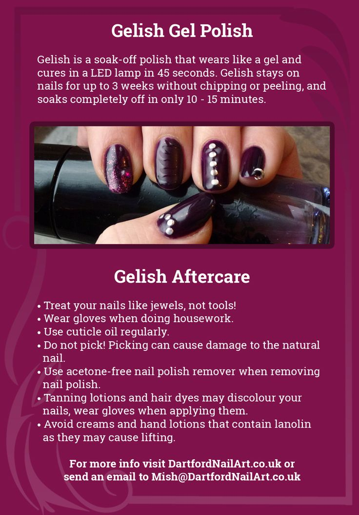 Gelish info aftercare nagels pinterest for Acrylic nail salon davenport ia