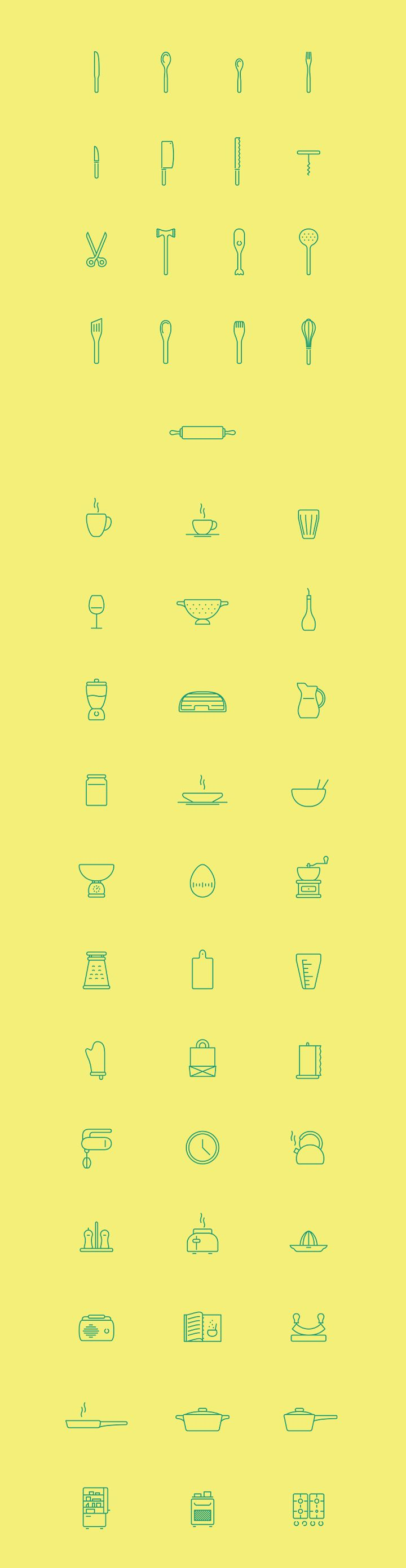 Today we have for you a a set of 53 free kitchen icons that will work great in a variety of restaurant or food branding projects. All icons are scalable.