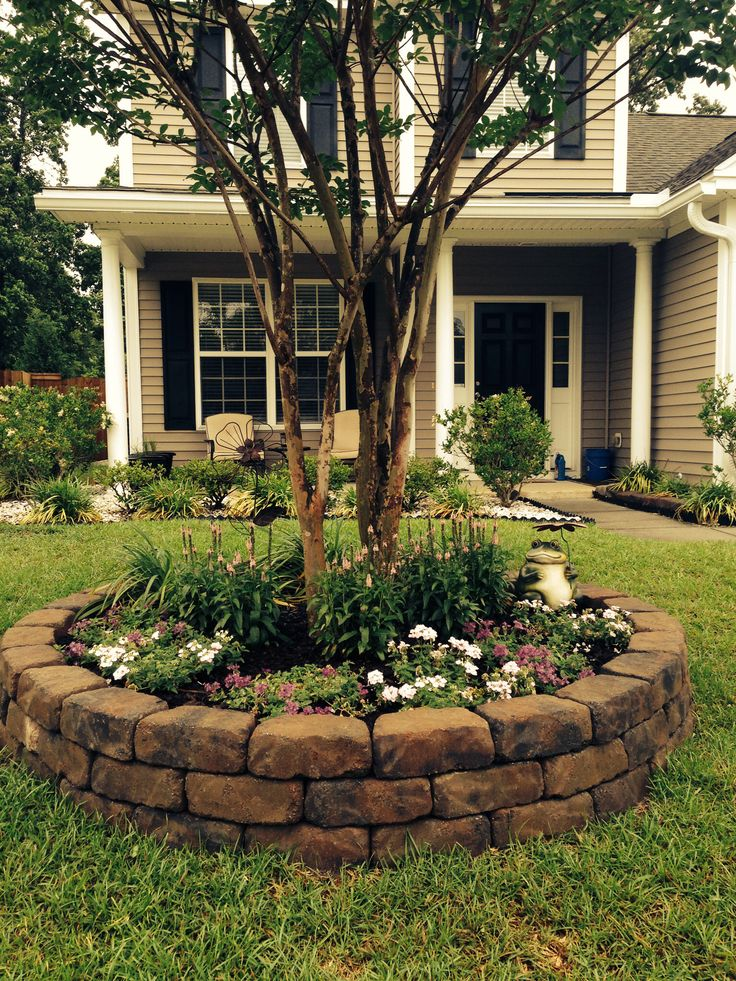 Front yard landscape project - good idea to add some pizzazz around our trees!