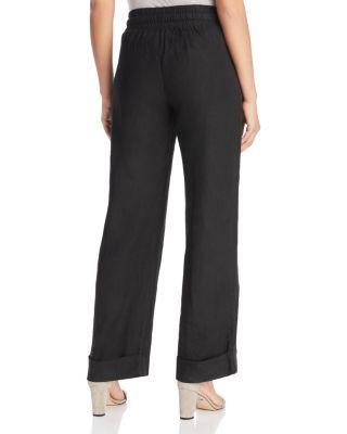 Three Dots Linen Beach Pants – Black