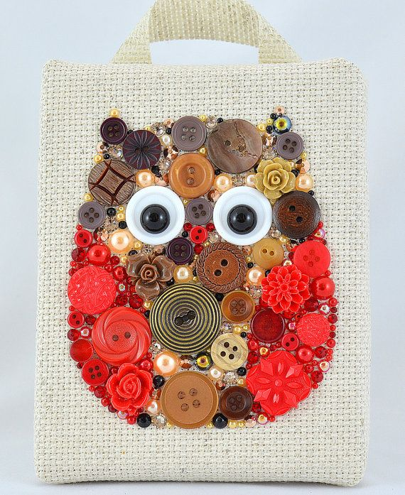 Button Art, Painted With Buttons  Mister Owl - Button Art, Vintage Buttons by PaintedWithButtons, $50.00
