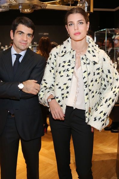 Montblanc CEO Jerome Lambert with Charlotte Casiraghi, the new global brand ambassador of Montblanc, at the Salon International de la Haute Horlogené in Genova, Switzerland on January 19, 2015