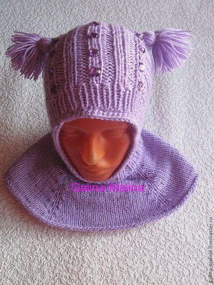 Одежда для девочек, ручной работы. Ярмарка Мастеров - ручная работа Шапка-шлемик с манишкой.. Handmade.
