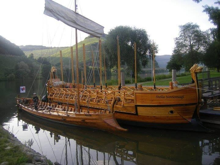 The Stella Noviomagi, the seaworthy replica of a Roman wine ship in harbour at Trier (Augusta Treverorum), Germany.