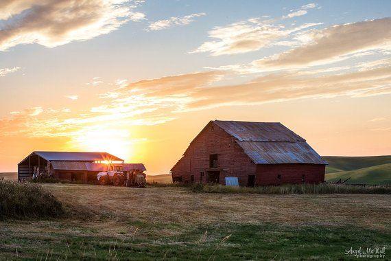 Large Rural Landscape Photography Red Barn Farm House Decor Palouse Photography Farm Sunset Fine Art