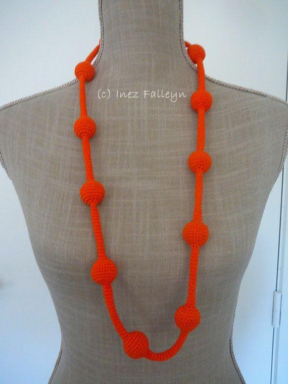 Bright orange crochet necklace by Ineseda on Etsy