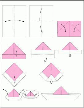 Схема сборки шляпа оригами из газеты