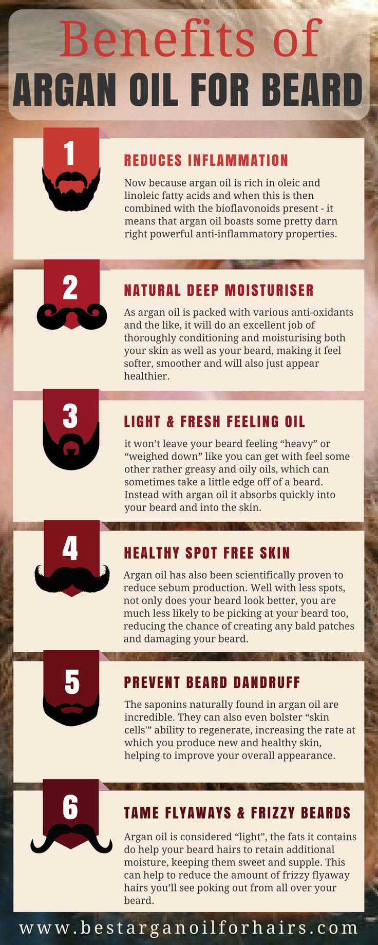 7 Advantages of Argan Oil for Your Beard #Argan oil is also known as Liquid Gold. Many people use argan oil for hair, skin, acne, and much more. In this infographic, I have described benefits of argan oil for the #beard. https://www.bestarganoilforhairs.com/