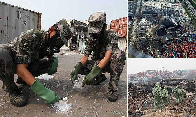 Police confirmed the presence of the chemical, which is fatal when ingested or inhaled, was 'roughly east of the blast site' in an industrial zone in the port city of Tianjin.
