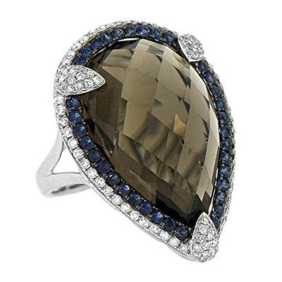 Women's 14k White Gold Smokey Topaz Sapphire and Diamond RIng (25.95cttw)