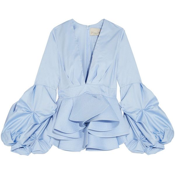 Johanna Ortiz St. Barts cotton-poplin peplum top ($1,045) ❤ liked on Polyvore featuring tops, johanna ortiz, light blue, light blue peplum top, ruched tops, slimming tops, light blue top and ruffle top