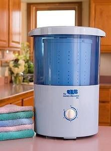 http://j.mp/140Hrz0 Mini Countertop Spin Dryer Clothes Spin Dryer Portable Clothes Dryer This device is AWESOME! My life is so much easier now that I am not hand-wringing laundry, and I am saving money on the laundromat. Not good for jeans, cannot do blankets or towels (too big and heavy) but good for prewashing cotton fabric, small amounts of clothing, cloth diapers. Good for RVs and dorms, I imagine. Awesome for poor apartment dwellers like me!